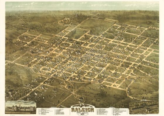 Birdseye View Map of Raleigh, North Carolina 1872 Print/Poster (5427)